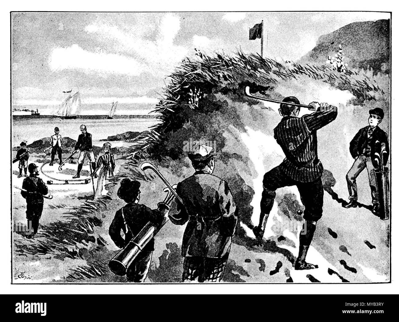 Golf: Game scene, A Greiner  1895 - Stock Image