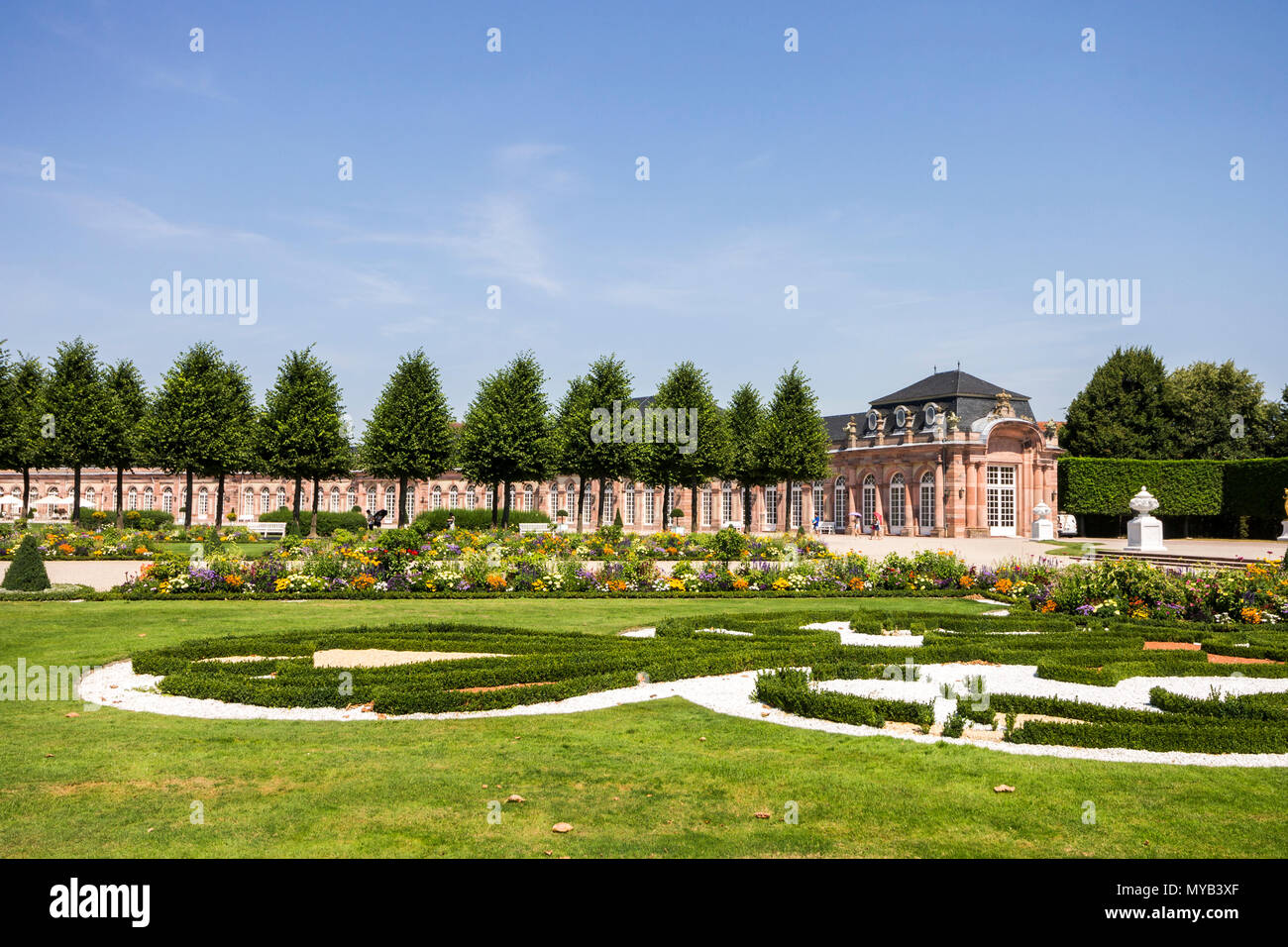 Schwetzingen, Germany. Gardens of the Schwetzingen Palace (Schloss Schwetzingen), ancient summer residence of the Electors Palatine Charles III Philip - Stock Image