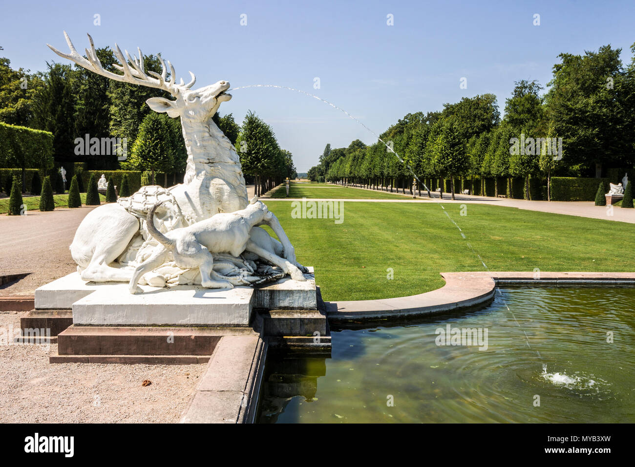 Schwetzingen, Germany. Gardens of the Schwetzingen Palace (Schloss Schwetzingen), ancient summer residence of the Electors Palatine Charles III Philip - Stock Image