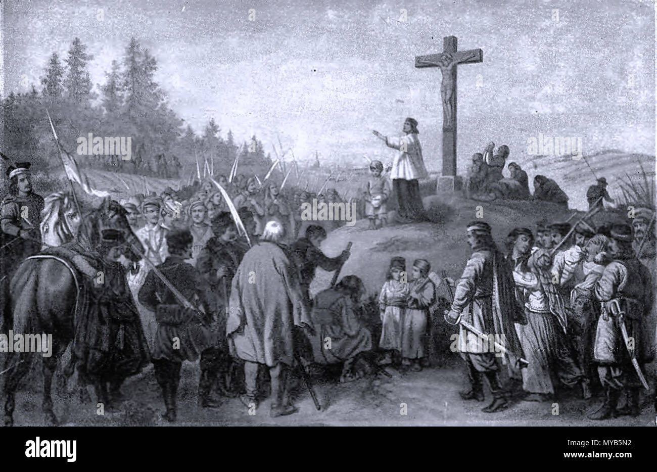. English: Blessing of Polish January insurgents before the battle 1863 . 19th century. Anonymous plate 77 Blessing of Polish January insurgents before the battle - Stock Image