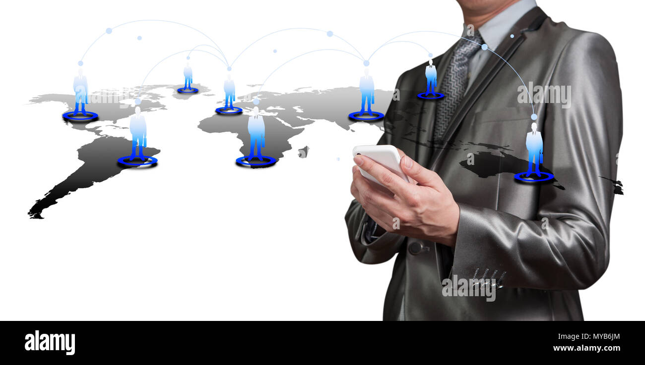 Businessman pressing on digital virtual screen, human resource management concept - Stock Image