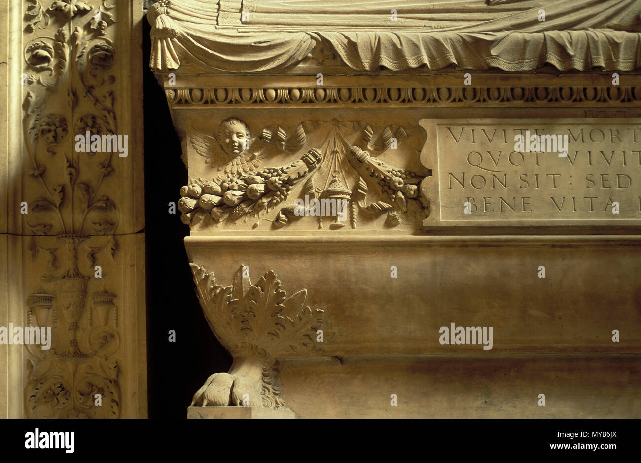 Cenotaph in a chapel off the south aisle, detail, Santa Maria sopra Minerva (tomb), by Andrea Bregno, Rome, Italy Stock Photo