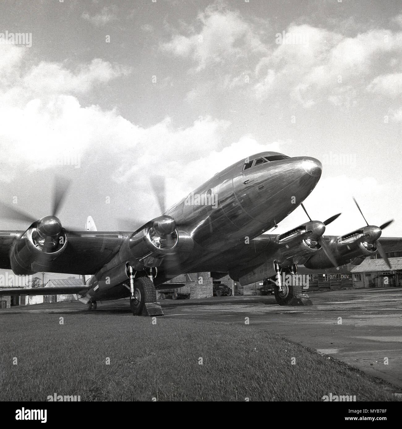 1940s, historical, the AVRO Tudor 1 aircraft parked on the runway at a small airport, England, UK. A. V Roe & Co, known as AVRO was the famous British designer and builder of the WW2 Lancaster and Lincoln planes. The Tudor's aircraft's development was supported by the British government's Ministry of Supply who believed the civil aviation industry was important to the nation. - Stock Image