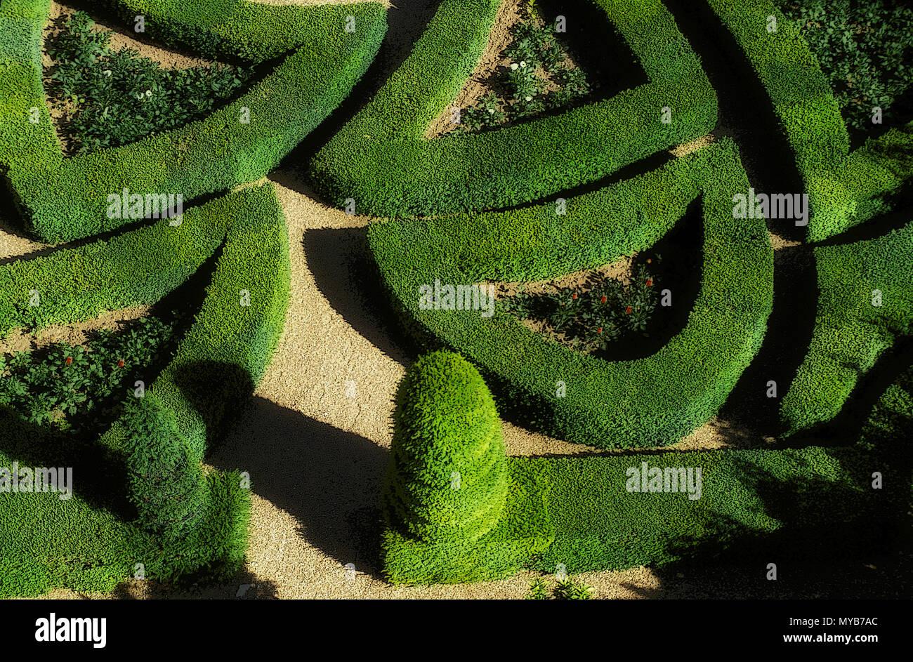 Château de Villandry, Garden of Love, parterre design, section symbolizing  passionate love, Centre, France Stock Photo