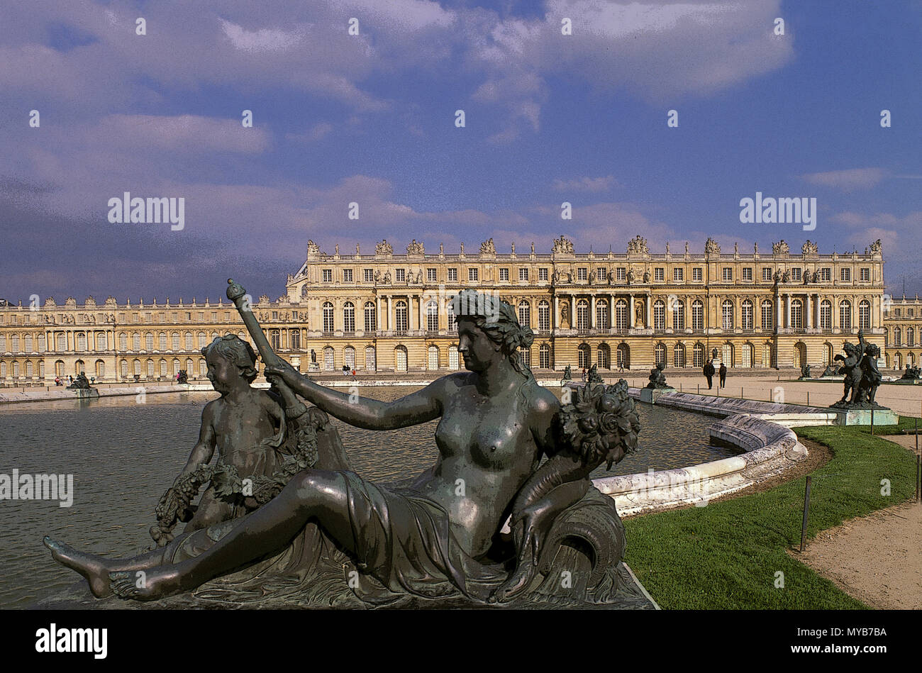 Versailles: Palace Gardens,Water Parterre, personification of the river Marne by Le Hongre (1685-1687), with west elevation beyond, Versailles, France Stock Photo