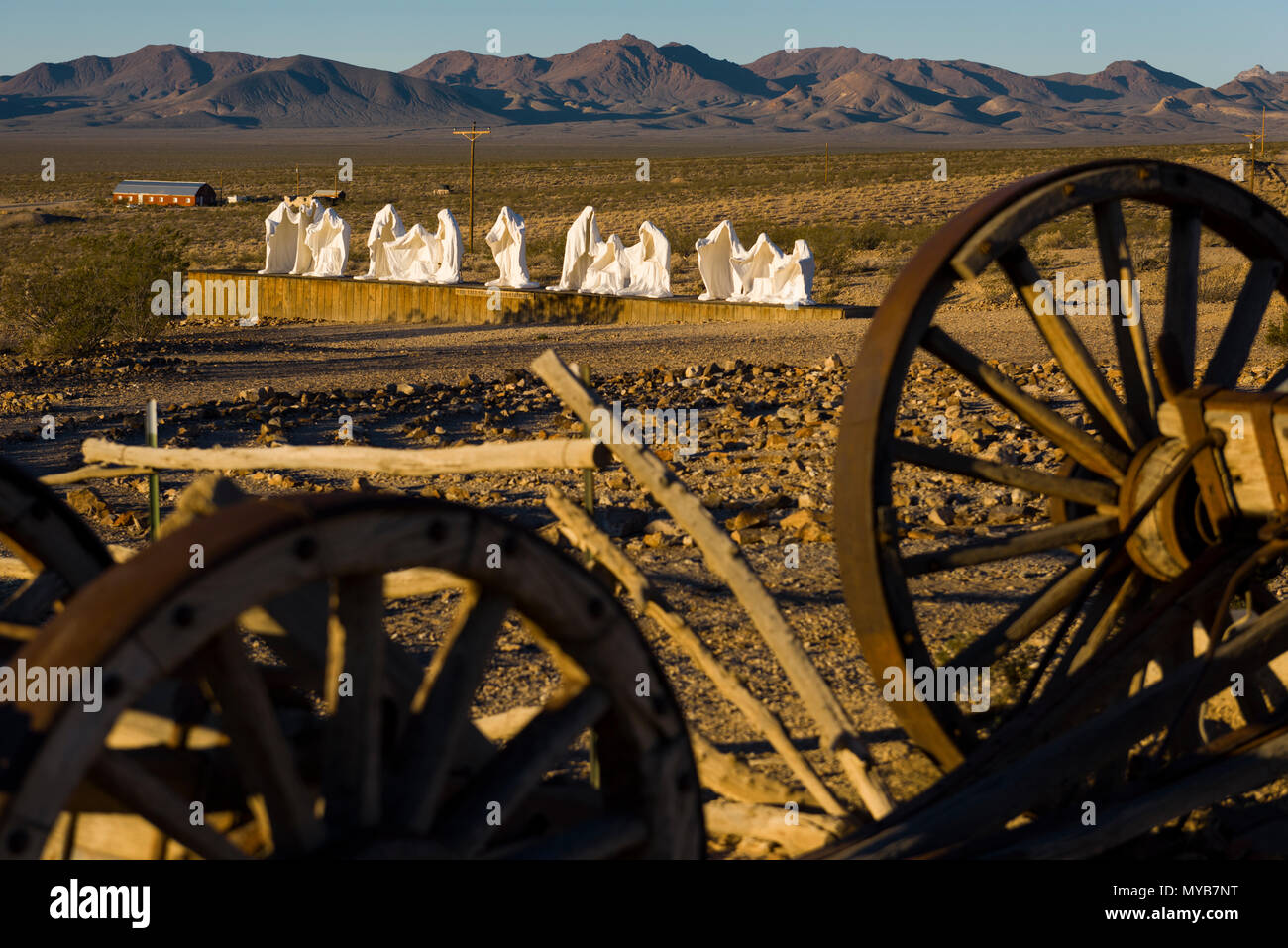 Some of the famous art work in the Goldwell Open Air Museum in the ghost town of Rhyolite, Nevada, North America - Stock Image