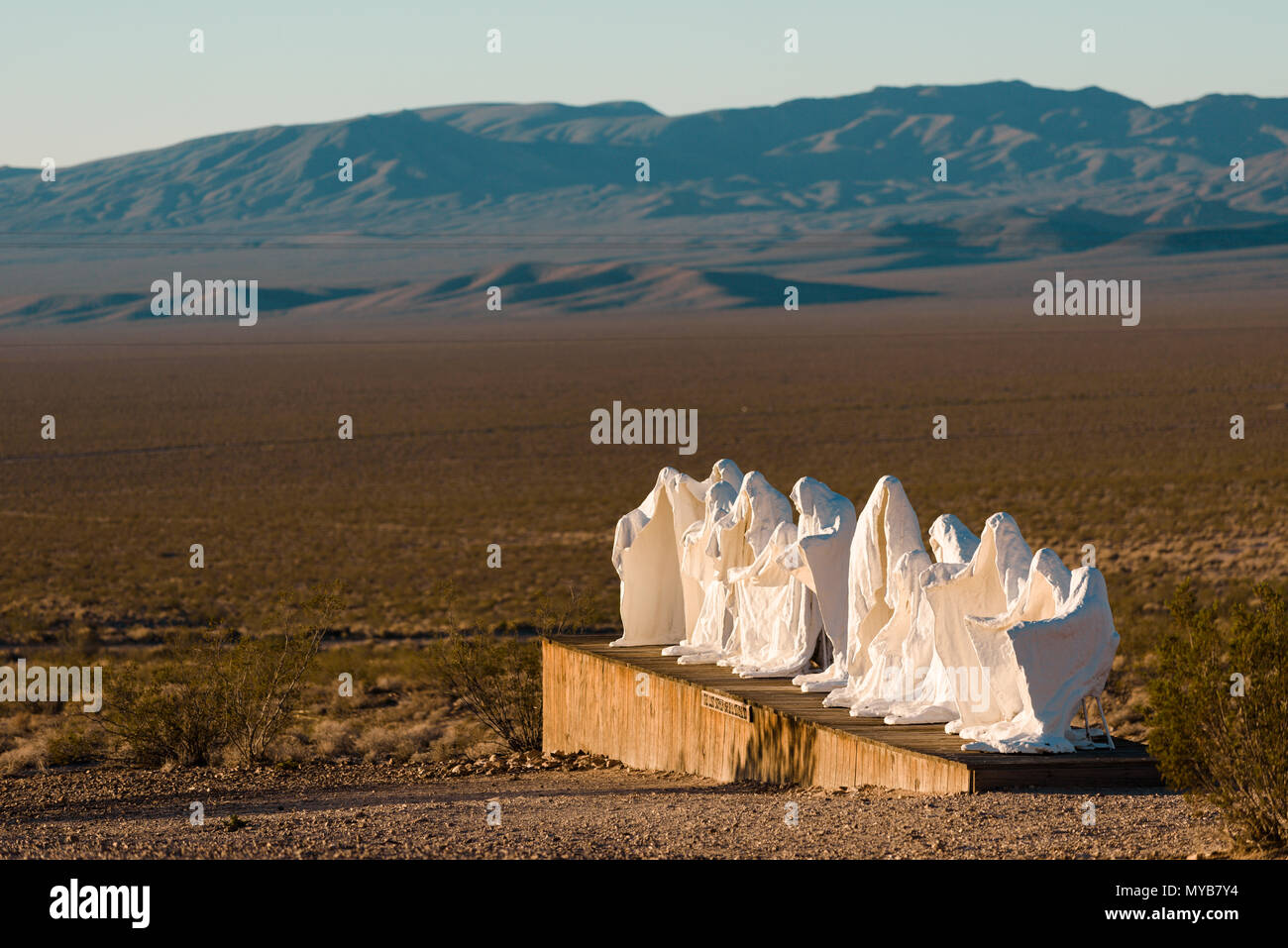 Last Supper sculpture art work in the Goldwell Open Air Museum in the ghost town of Rhyolite, Nevada, North America - Stock Image