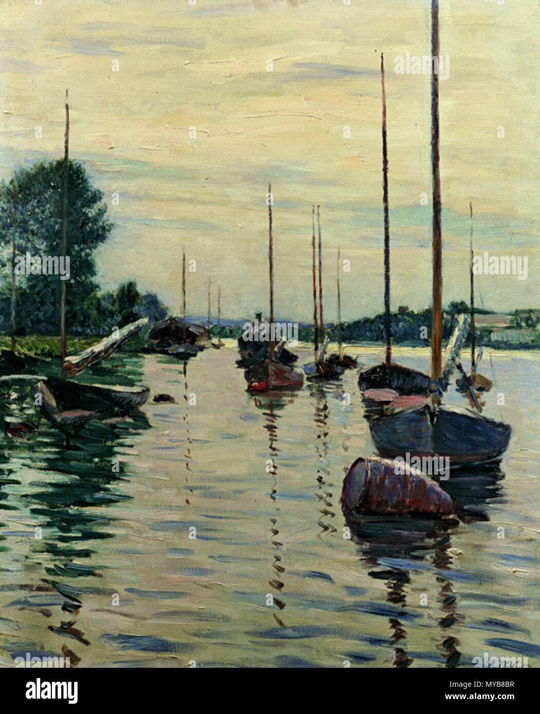 . Boats Moored on the Seine . 1892.    Gustave Caillebotte (1848–1894)   Alternative names Gustav Caillebotte; Caillebotte  Description French painter, art collector, patron, philatelist, marine architect and sailor  Date of birth/death 19 August 1848 21 February 1894  Location of birth/death Paris Gennevilliers  Work period between 1863 and 1893  Work location Paris, Petit-Gennevilliers, Yerres, Honfleur (1880–1889), Trouville-sur-Mer (1880–1893)  Authority control  : Q295144 VIAF:71399604 ISNI:0000 0001 2102 2151 ULAN:500011706 LCCN:n81047695 NLA:36549705 WorldCat 87 Brooklyn Cailleb - Stock Image