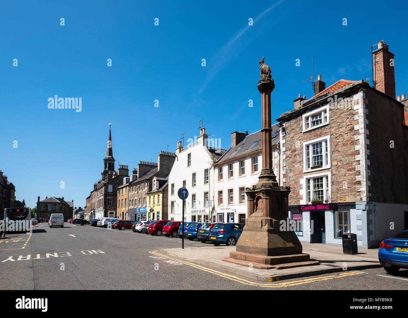 View of the High Street and Mercat in Haddington , East Lothian, Scotland, UK - Stock Image