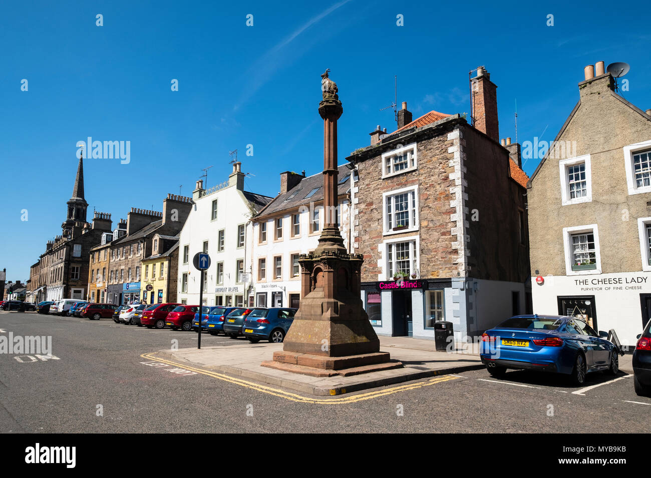 View of the High Street and Mercat in Haddington , East Lothian, Scotland, UK - Stock Image