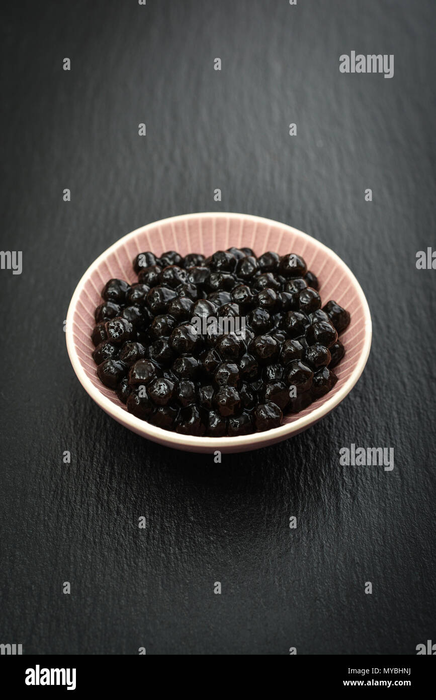 Boiled Tapioca Pearls on black slate background  For Bubble