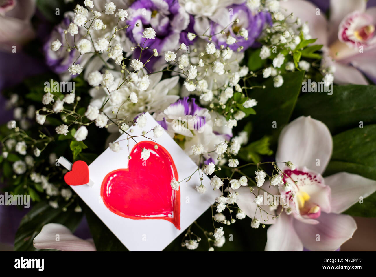 Fresh Beautiful Flowers Bouquet With Red Heart Card Top View Gift