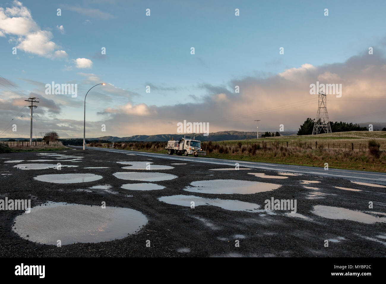 Central North Island, New Zealand 2013. State Highway after winter storm - Stock Image
