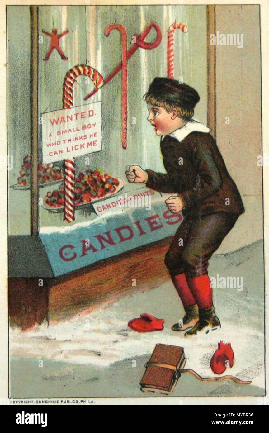 . English: A boy looking at a candy cane in a store window on a promotional card by William B Steenberge . 12 December 2011. Sunshine Pub.Co.Phila. 95 Candy cane William B Steenberge Bangor NY 1844-1922 - Stock Image