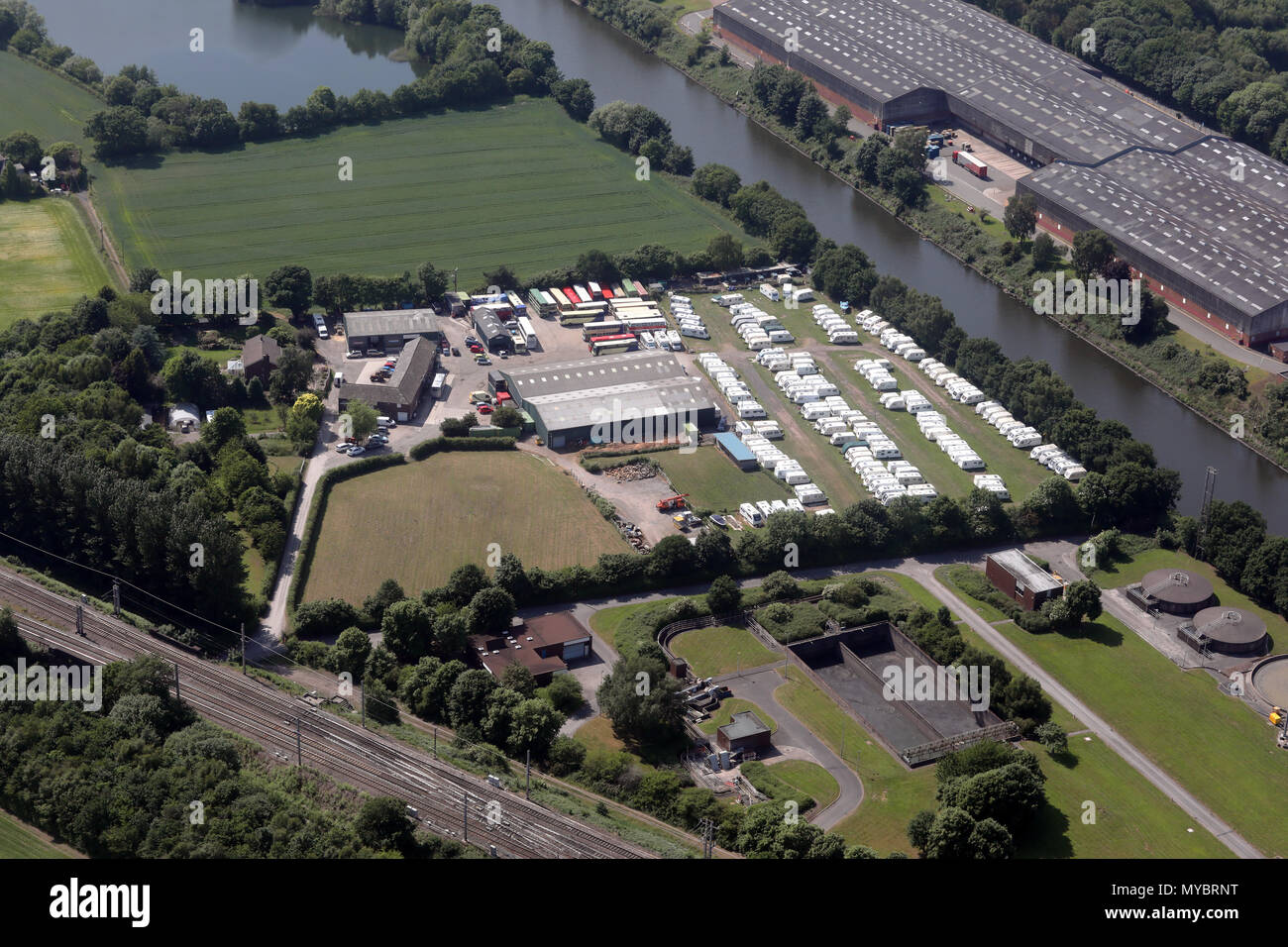 aerial view of Bell House Farm caravan store near Warrington - Stock Image
