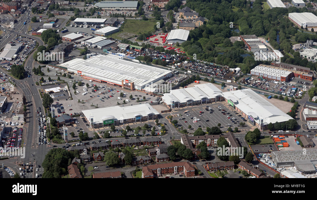 aerial view of Bolton Gate Retail Park - Stock Image