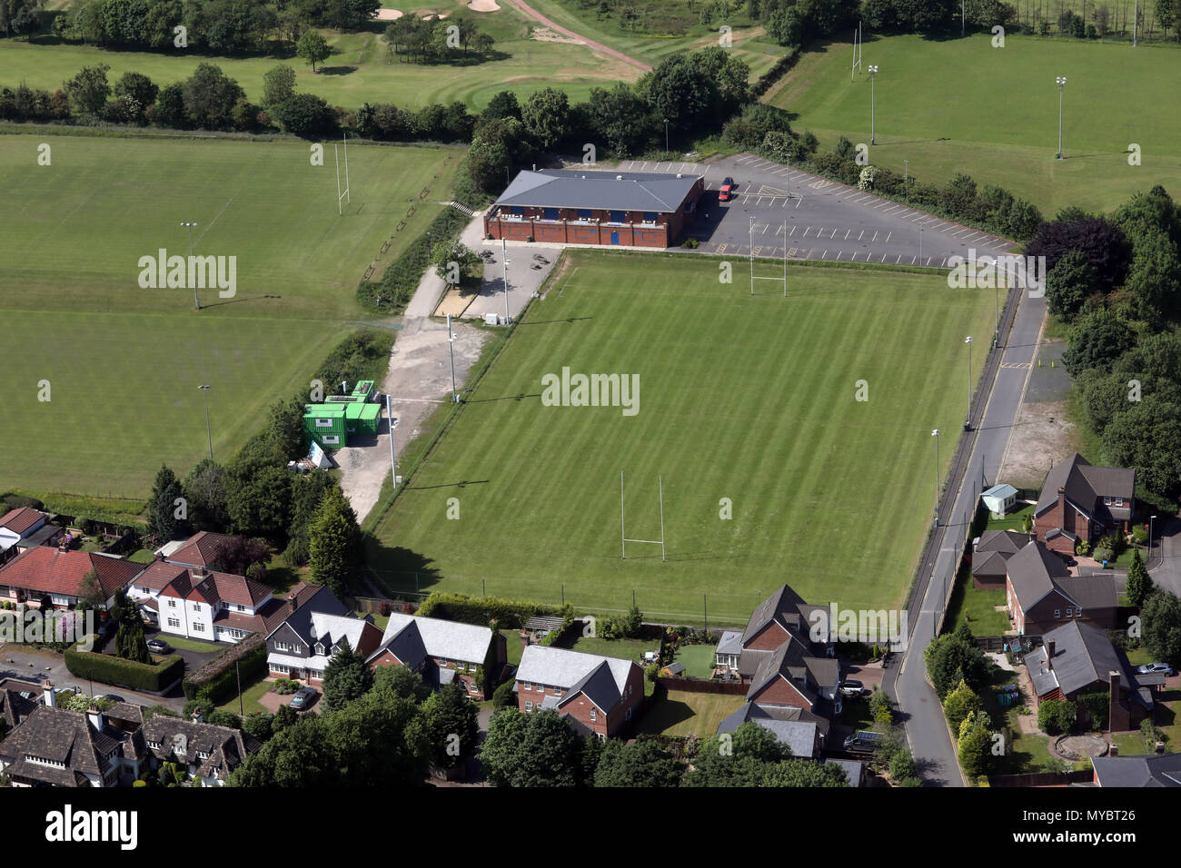 aerial view of Rochdale Rugby Union Club - Stock Image