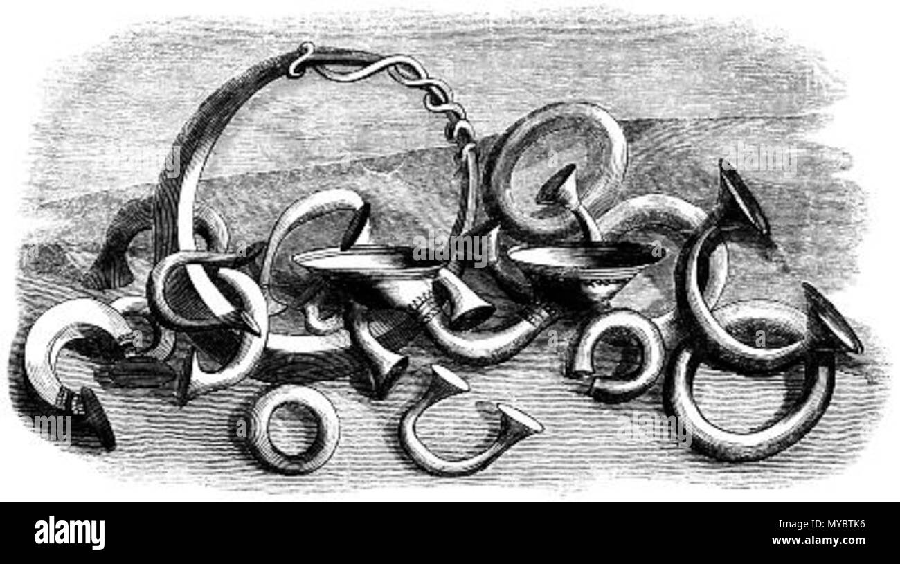 """. """"Ring-money, peculiar to the Celtic nations, undoubtedly existed in Ireland previous to the domination of the Romans in Britain. Although Cæsar says that the ancient Britons had no coined money, there is sufficient probability that they had their metal plates for purposes of currency, such being occasionally found in English barrows. The Ring-money (Fig. 69) has been found in great quantities in Ireland, of bronze, of silver, and of gold. The rings vary in weight; but they are all exact multiples of a standard unit, showing that a uniform principle regulated their size, and that this was det - Stock Image"""