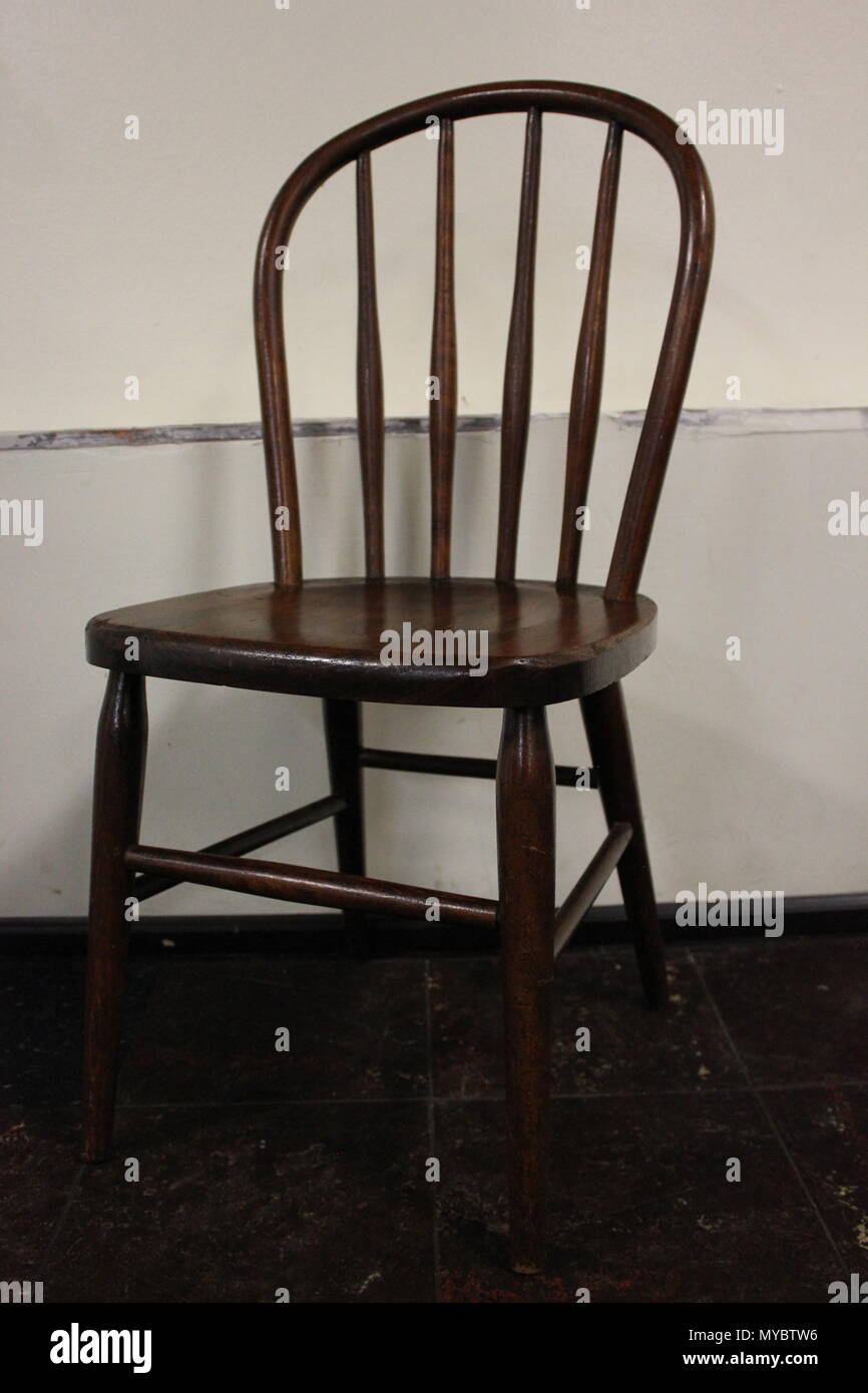 Child sized thonet bentwood vintage chair At Ebenezer Lutheran church in Chicago, Illinois. Stock Photo