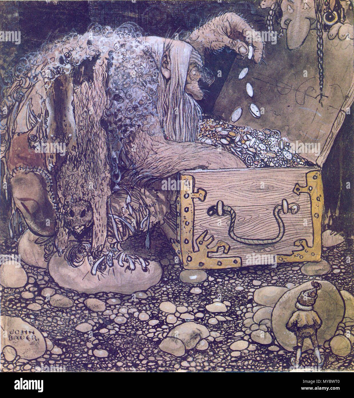 367 Mitt på golvet stod en öppen kista och sutto två förskräckliga troll - Stock Image
