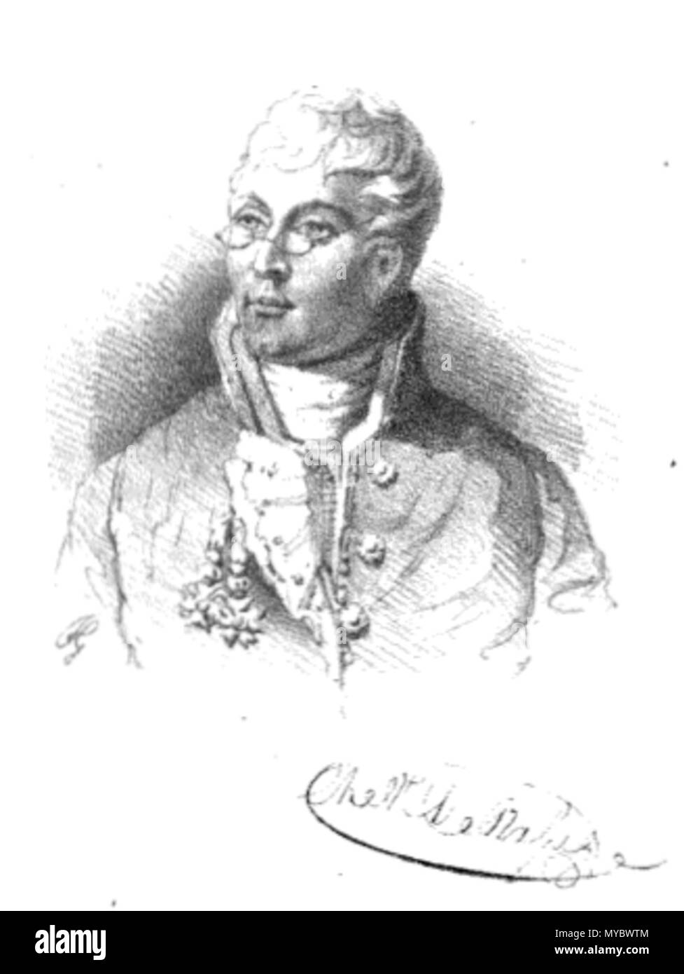 . English: Charles Henri Joseph de Rasse (1774-1818) . 19th century. Unknown 107 Charleshenriderasse - Stock Image