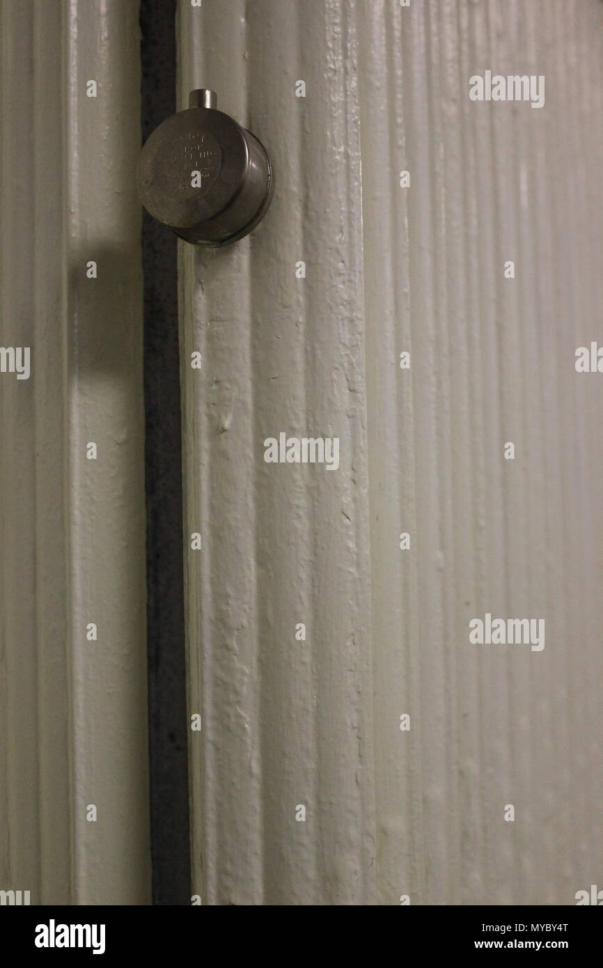 Hot water wall mounted radiator heating At Ebenezer Lutheran church in Chicago, Illinois. - Stock Image