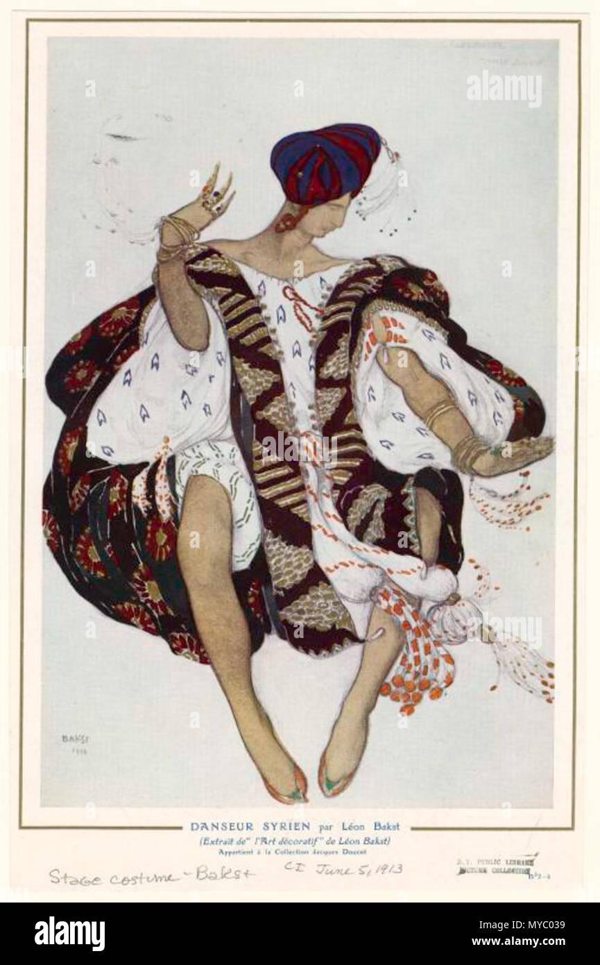The Slave in Cleopatra Costume design by LEON BAKST Vintage Ballet Poster