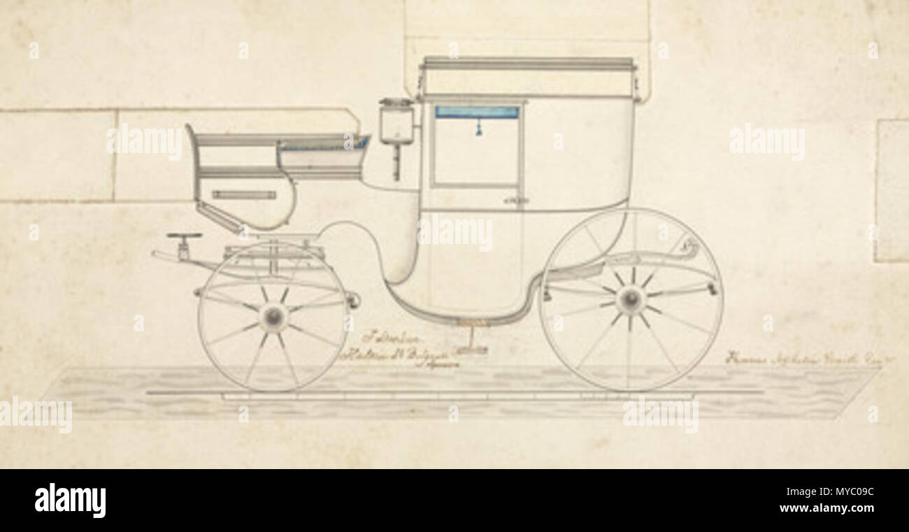 . Drawing, one of ten pen and ink design for carriages manufactured by F Stocken, coach and harnes maker, London. 19th century. Unattributed 116 Coach, mid 19th century - Stock Image