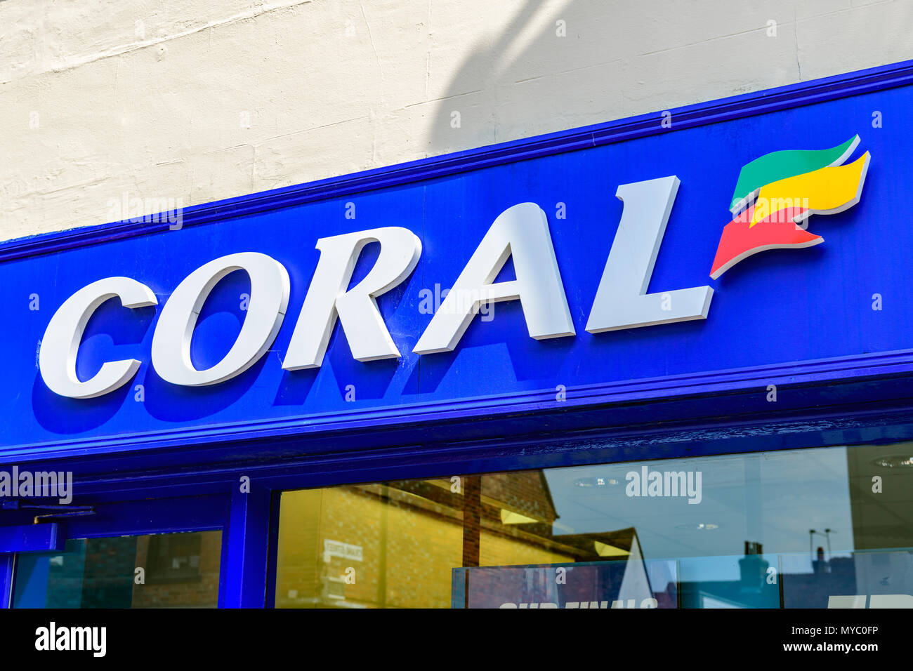 Coral bookmakers shop sign - Stock Image