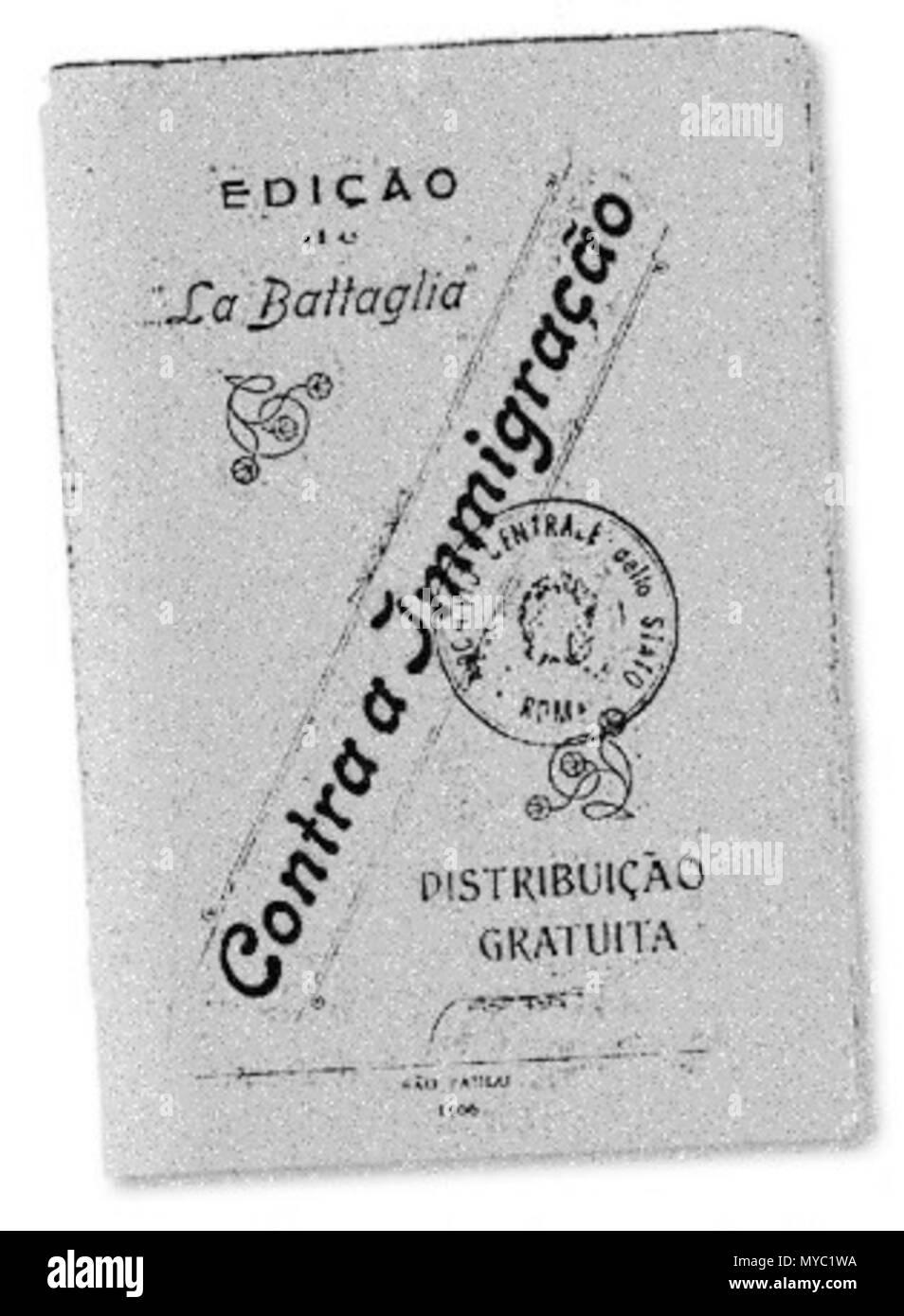 . Português: Edição da revista libertária La Battaglia editada por Oreste Ristori em 1906 . 1906. Oreste Ristori 122 ContraMigra - Stock Image