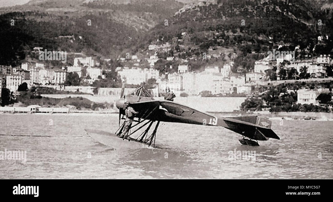 . English: The winner of the first edition of the Schneider Trophy race held at Monaco in 1913. Maurice Prevost in a float-equipped Deperdussin achieved a max speed of 126,7 mph. The machine was the combination of the innovative monocoque airframe and the powerful 160 h.p. Gnôme engine . 1913. Unknown 137 Deperdussin Monaco 1913 - Stock Image