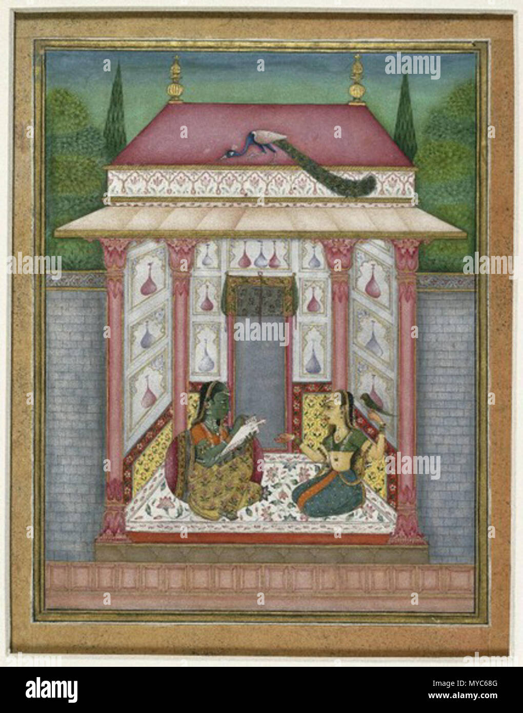 Dhanyashri Ragini Page from an illustrated Ragamala series   In the