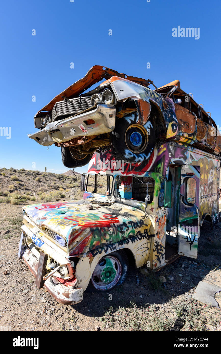 Old cars in a junkyard in Goldfield, Nevada - Stock Image