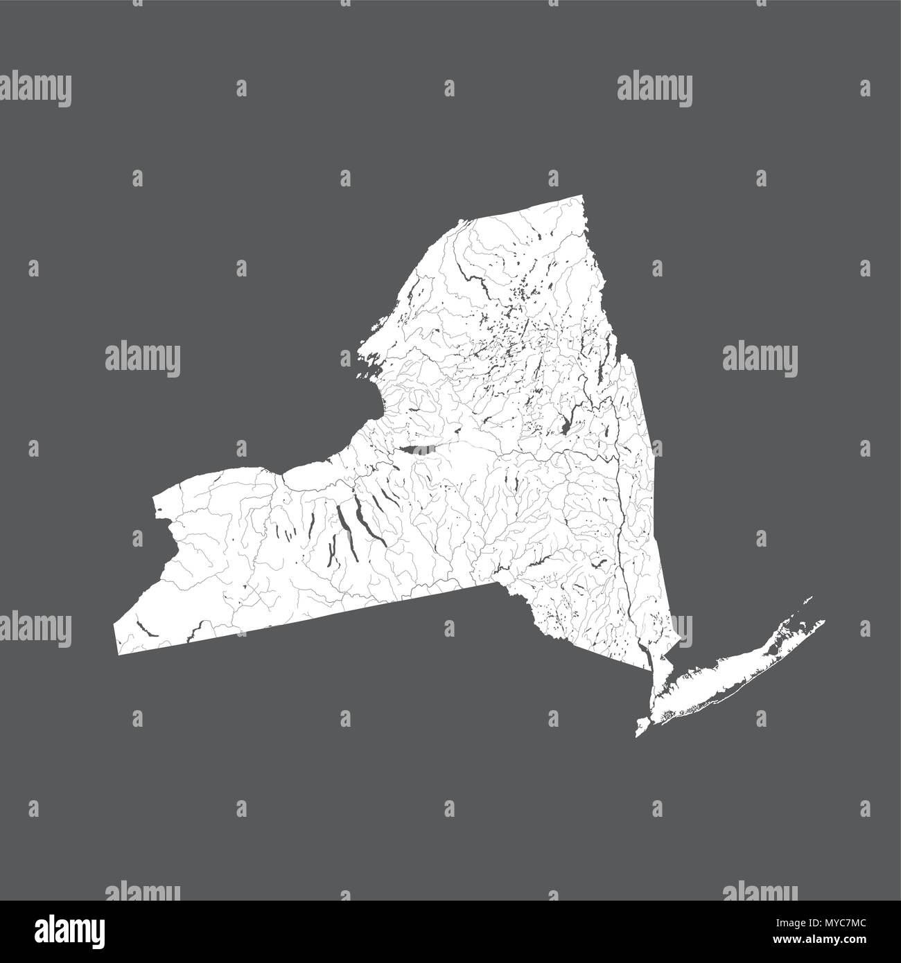 U.S. states - map of New York. Hand made. Rivers and lakes are shown. Please look at my other images of cartographic series - they are all very detail - Stock Image