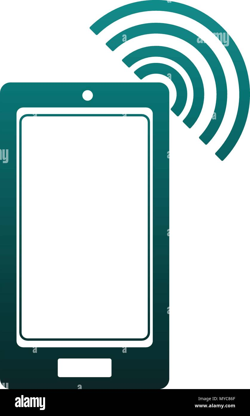 Smartphone with wifi blue lines - Stock Image