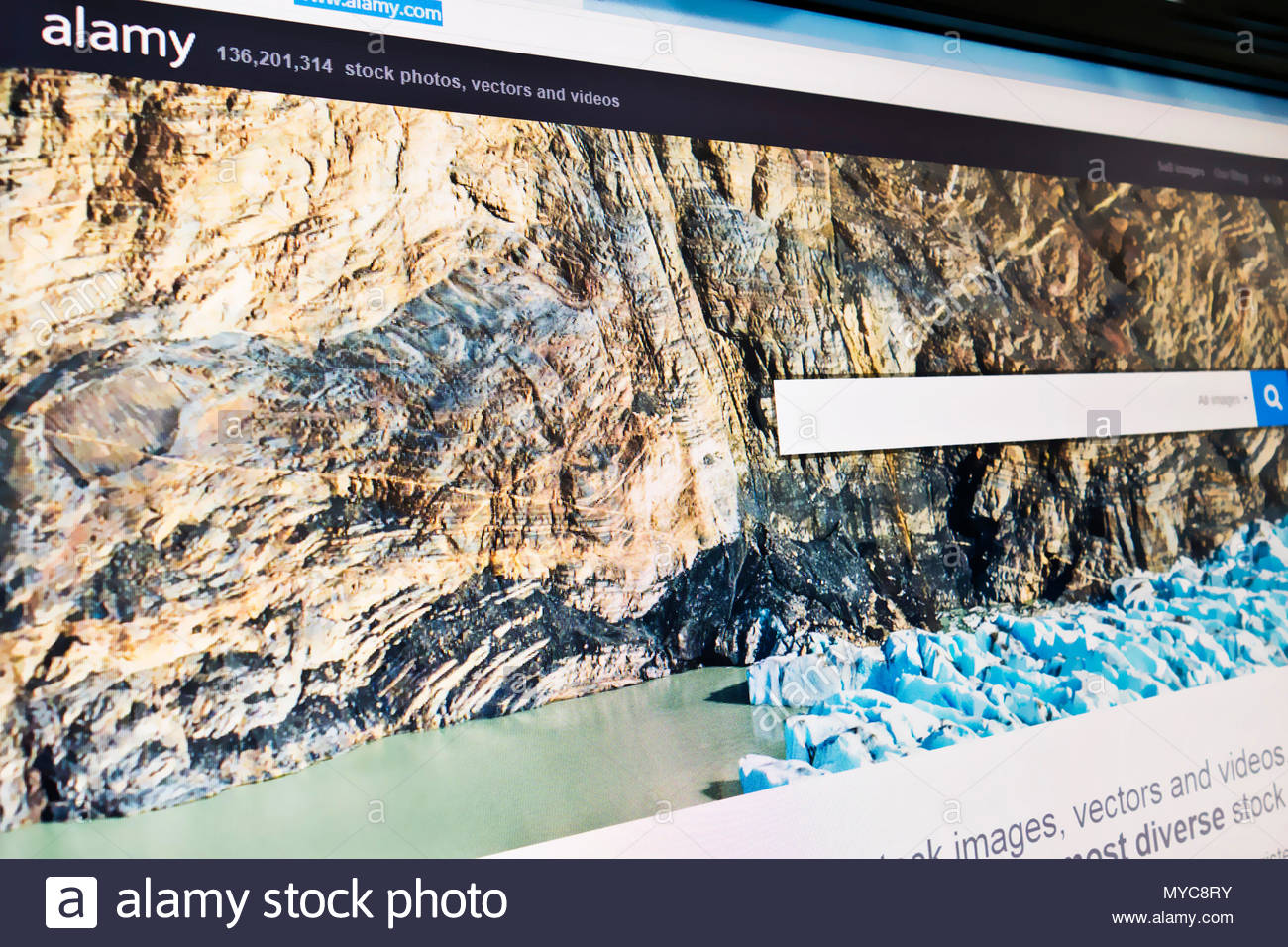 Alamy website home page screen - Stock Image
