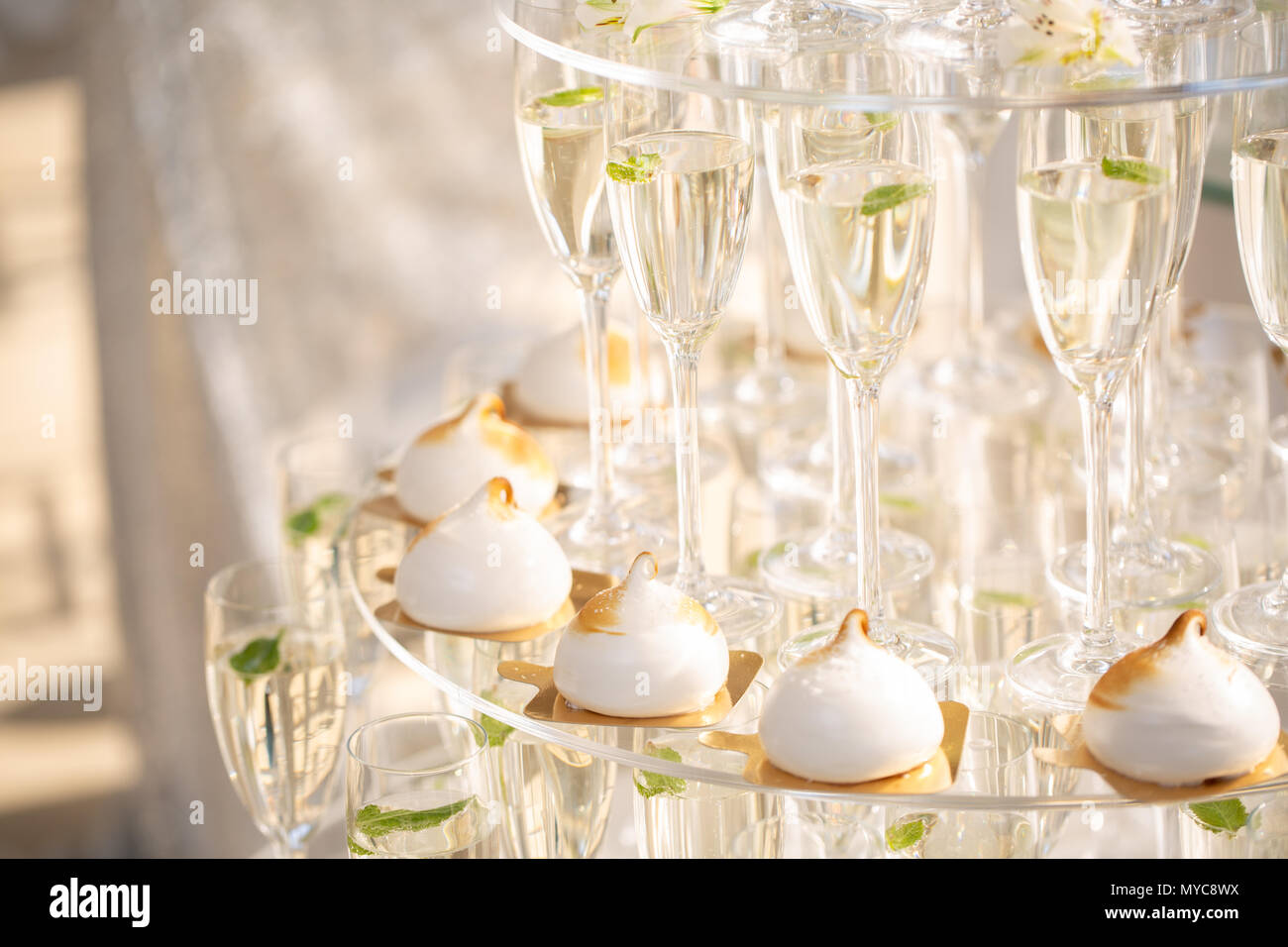 Champagne pyramid as decoration of your banquet 49
