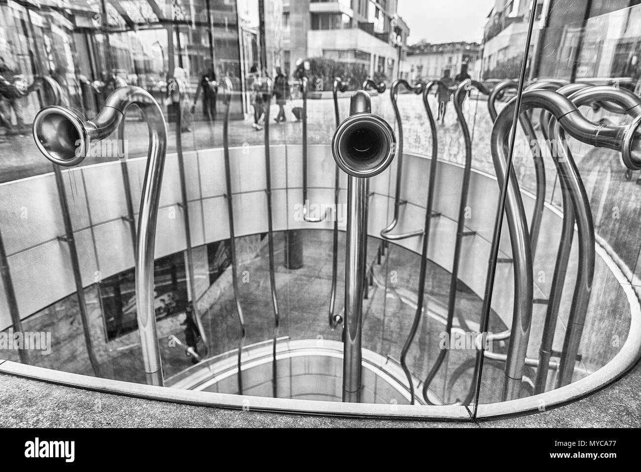 MILAN - MARCH 30: Detail of The Egg, aka Trumpets, artistic installation by Alberto Garutti, in piazza Gae Aulenti, Porta Nuova district, Milan, Italy - Stock Image