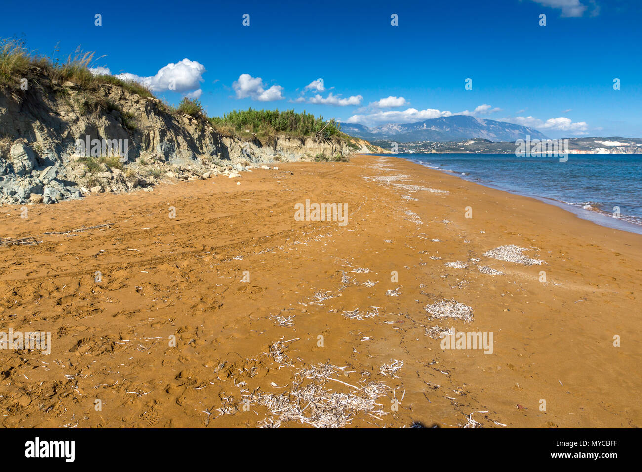 Panoramic view of Xi Beach, beach with red sand in Kefalonia, Ionian islands, Greece - Stock Image
