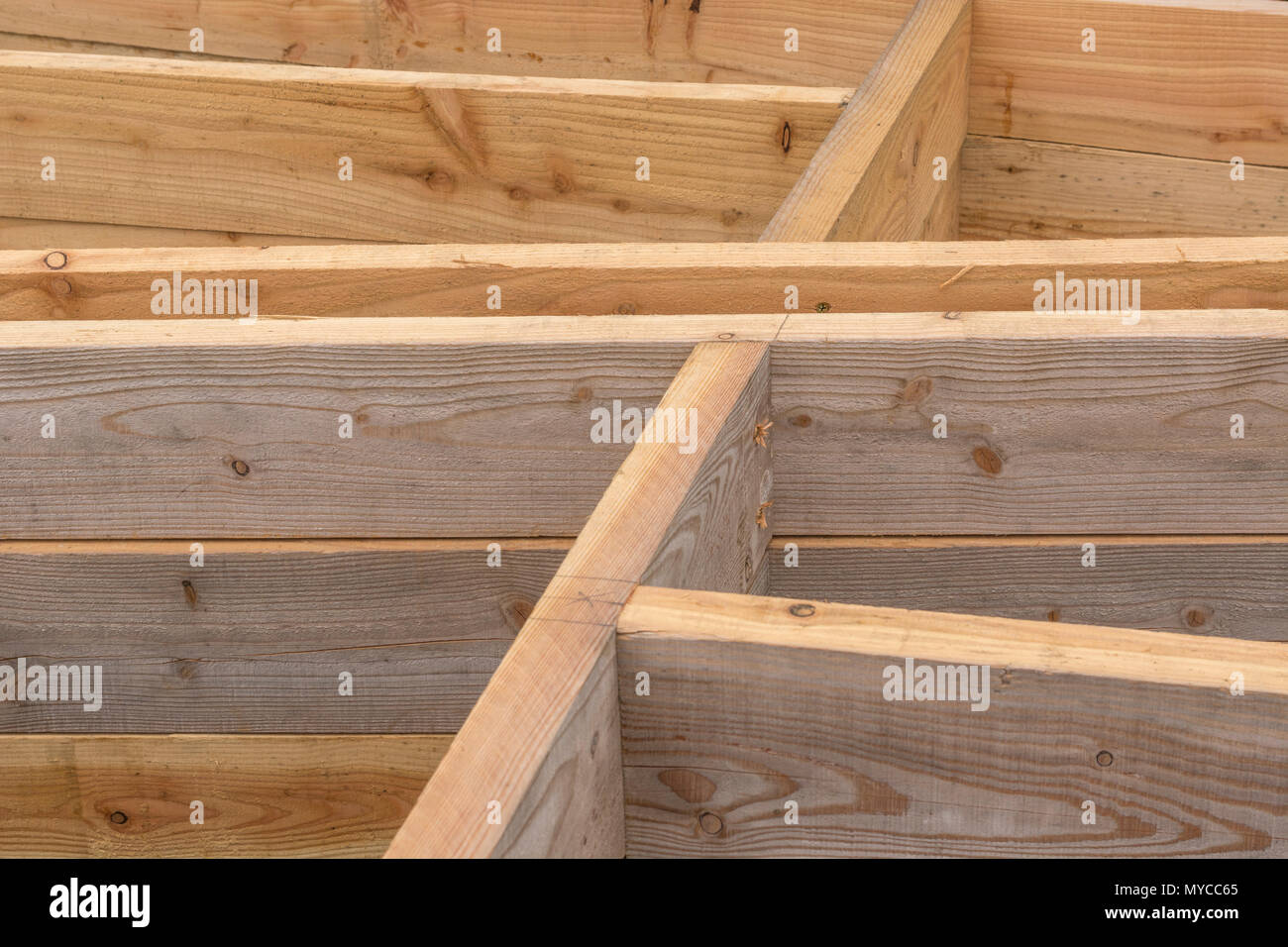 Woodwork structure under construction - with definitive angular configuration. - Stock Image