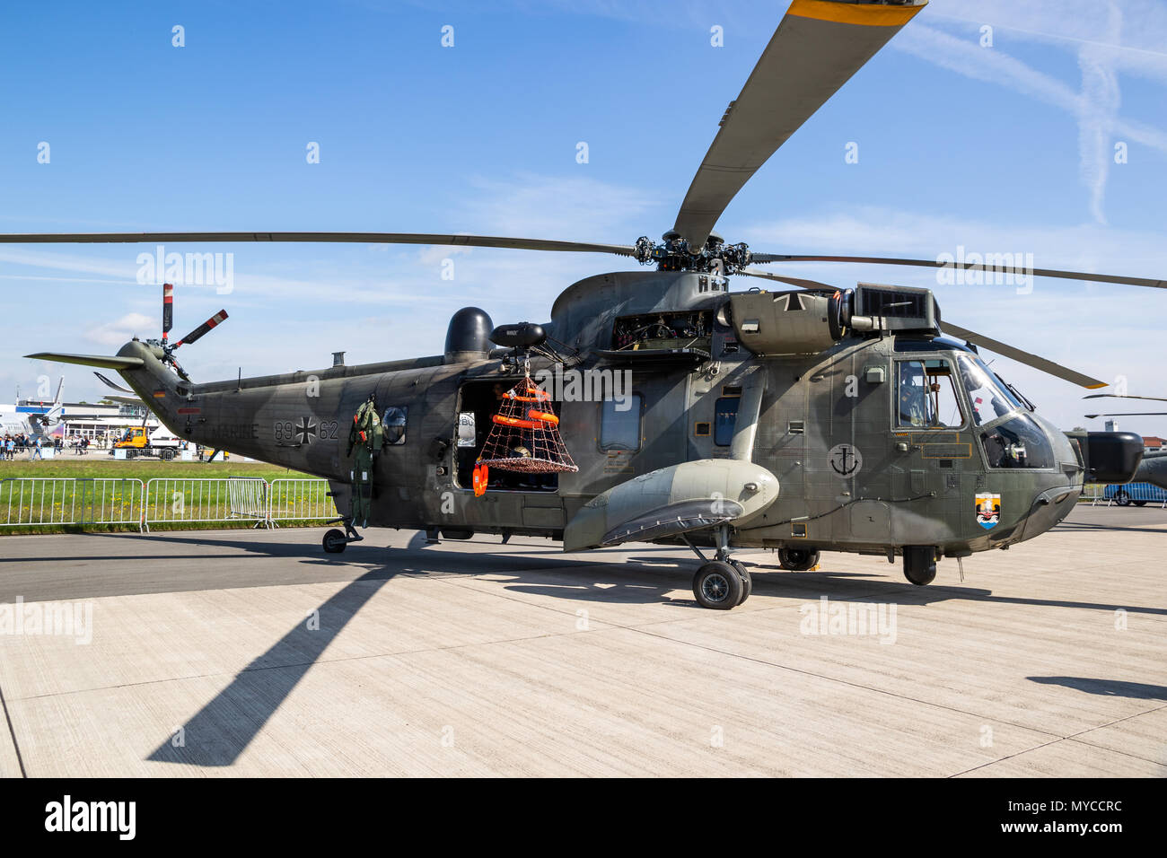 BERLIN, GERMANY - APR 27, 2018: German Navy Sikorsky Sea King rescue helicopter from MFG-5 on display at the Berlin ILA Air Show. - Stock Image