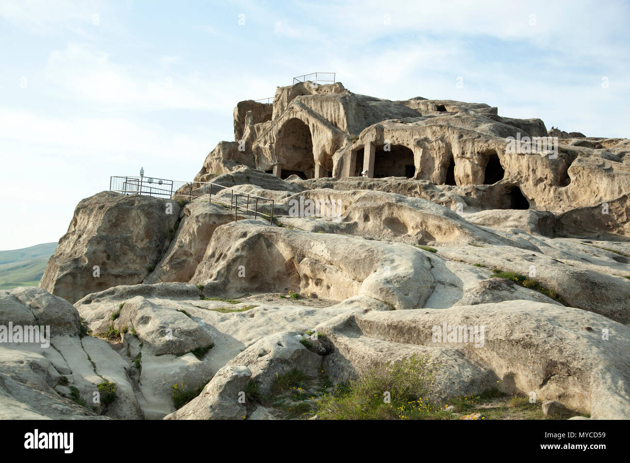 People lived in Uplistsikhe rock-cut city since Early Iron Age and is the oldest human settlement in Georgia. - Stock Image