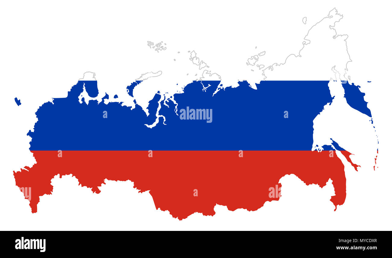Flag of Russia in the country silhouette. Tricolor flag of three horizontal fields in white, blue and red color. Outline of the Russian Federation map. - Stock Image