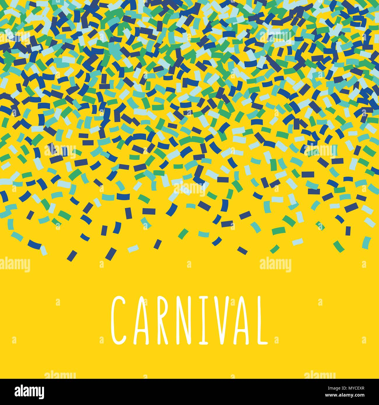 carnival vector illustration a lot of colorful confetti on yellow