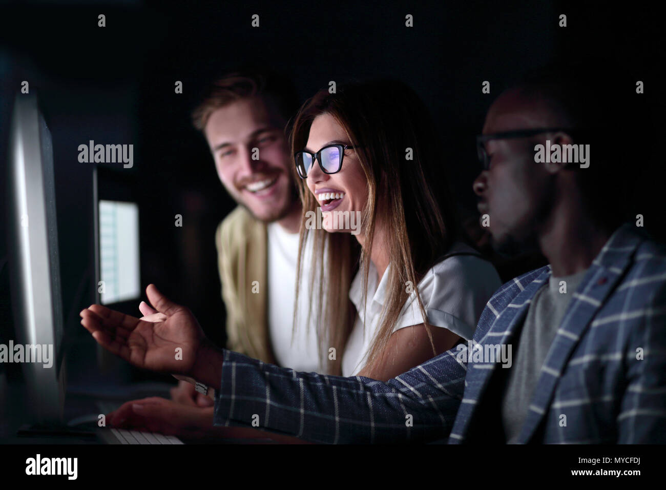 close up.friends discussing new information - Stock Image