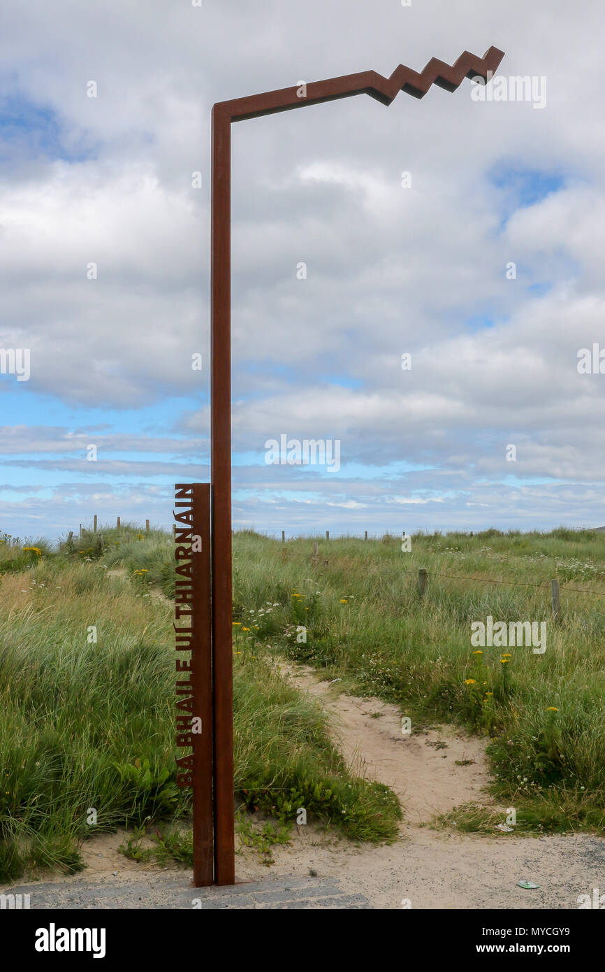 Metal Wild Atlantic Way Discovery Point in County Donegal Ireland at Ballyhiernan beach. - Stock Image