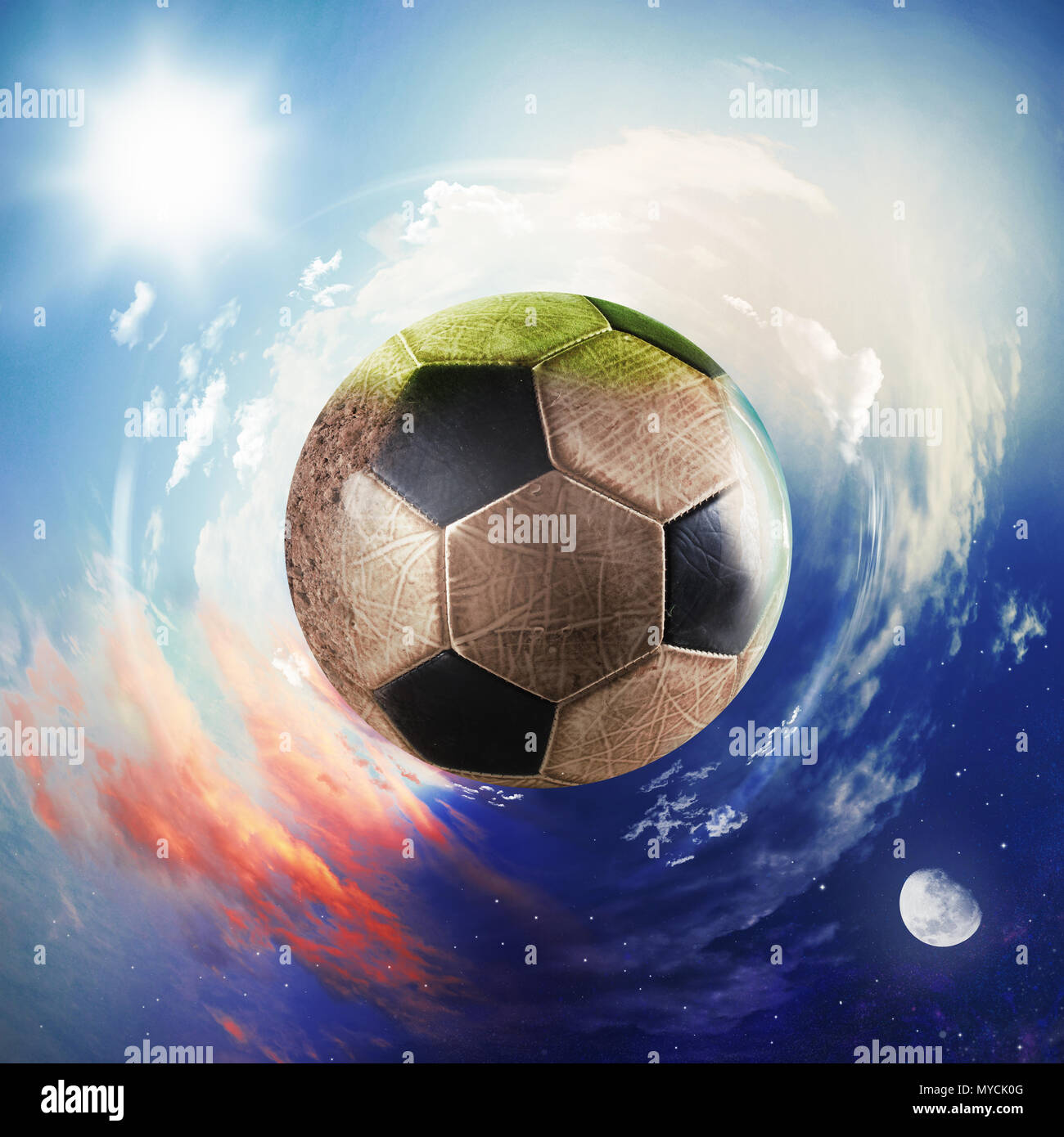Global view of soccer world. football ball as a planet - Stock Image