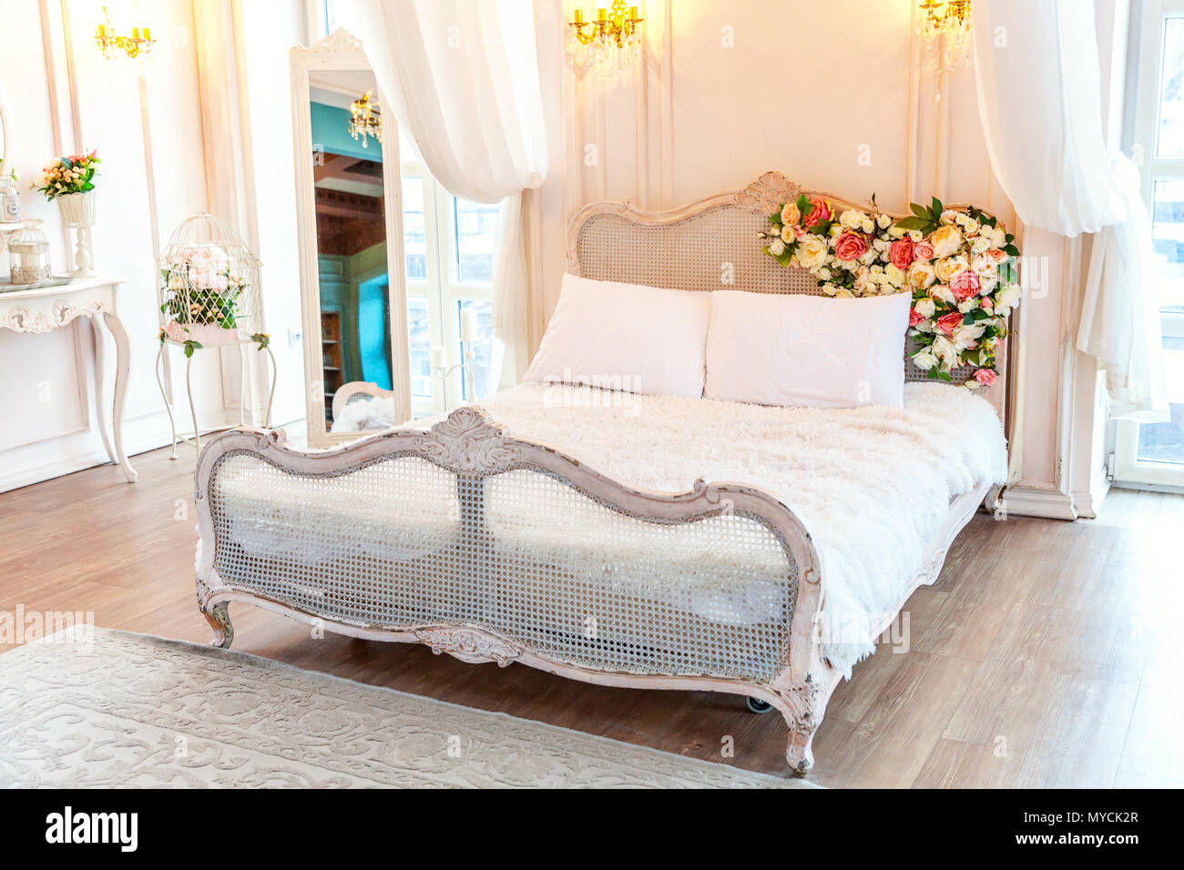 159c60cff4af7 Beautiful luxury classic white bright clean interior bedroom in baroque  style with king-size bed