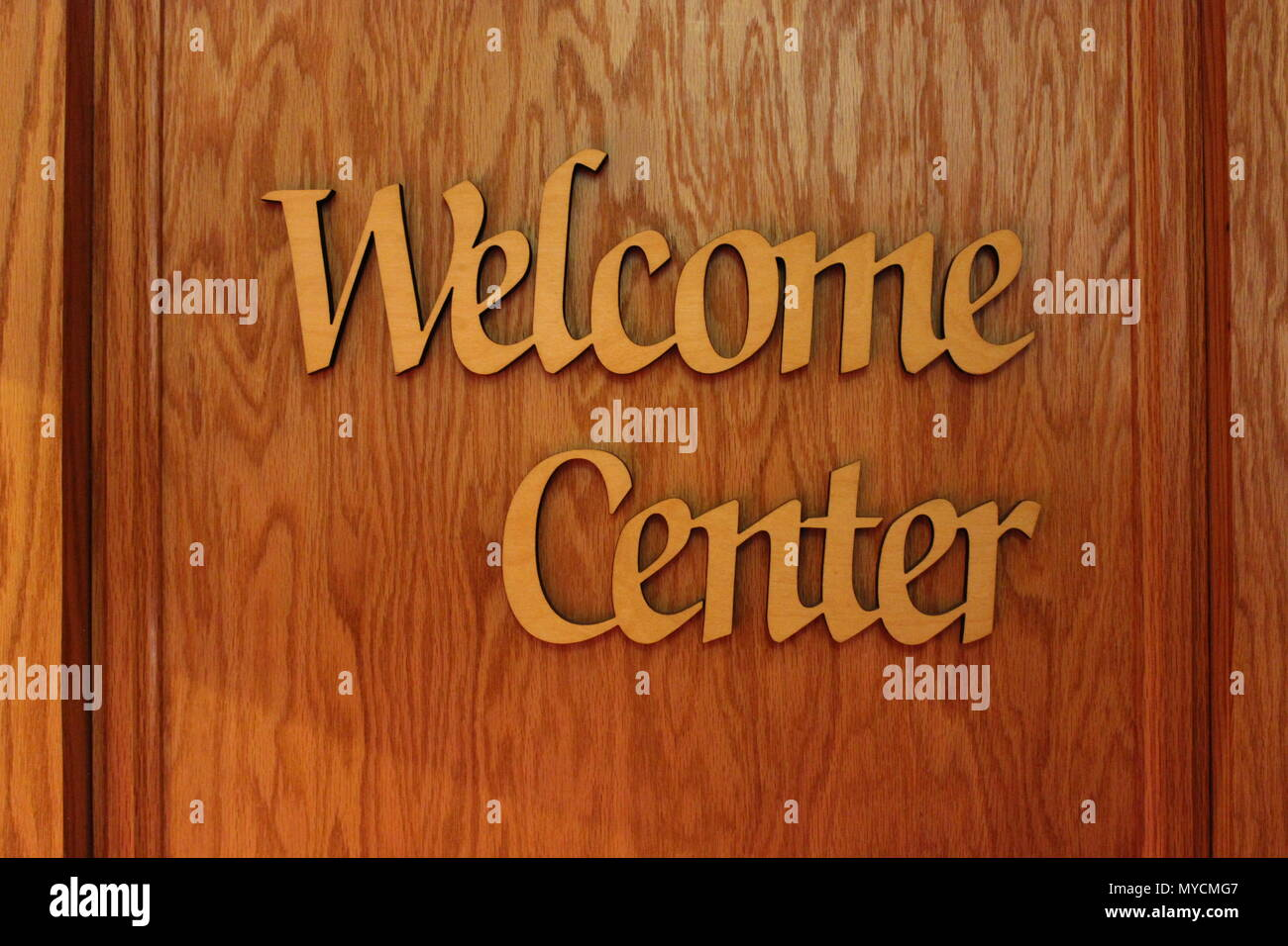 Welcome Center wood sign at Ebenezer Lutheran church in Chicago, Illinois. - Stock Image