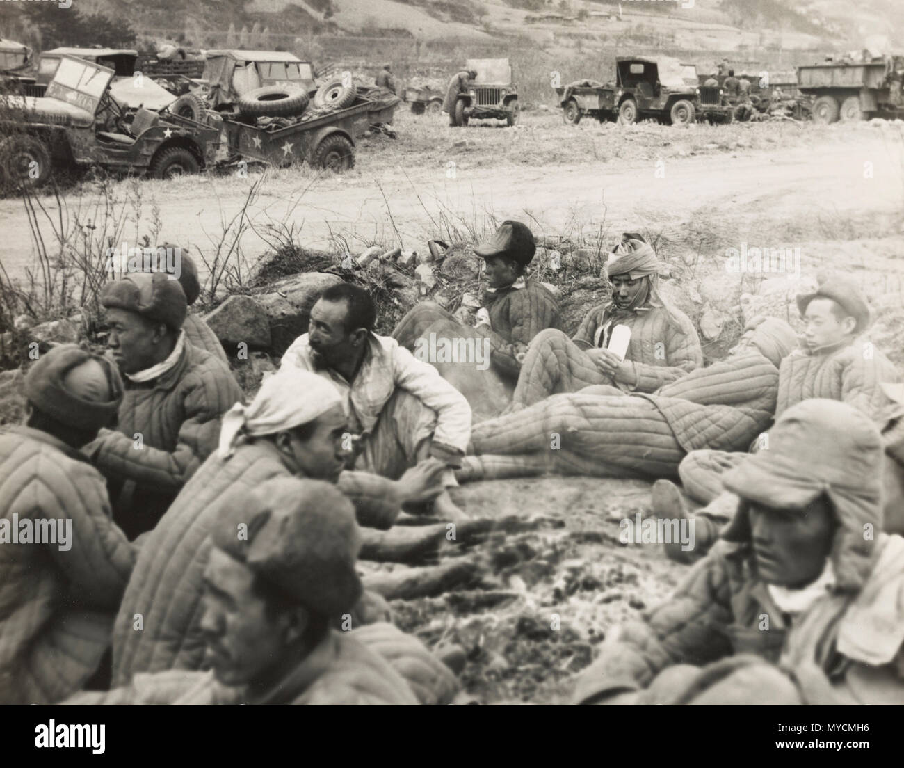 Chinese soldiers captured by the 7th Marines in northeast Korea on Nov 5 1950 - Stock Image